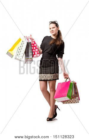 Young woman after shopping isolated on white