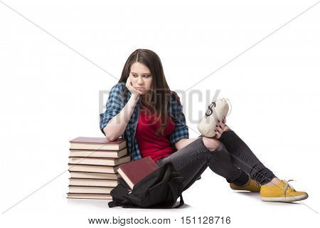 Concept of expensive education with female student
