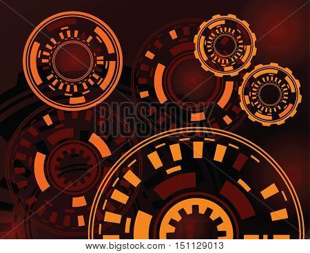 abstract dark red orange gears technology background vector illustration