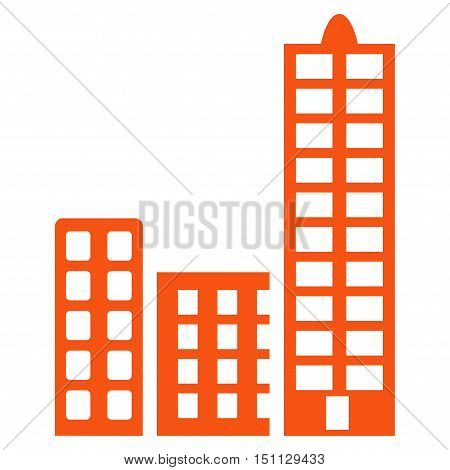 City icon. Glyph style is flat iconic symbol with rounded angles orange color white background.