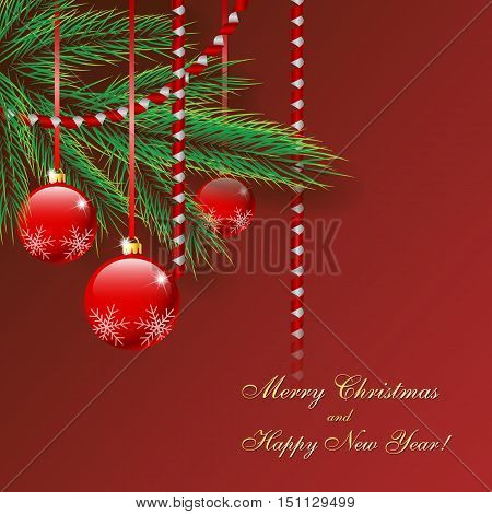 Christmas picture with fir tree balls and serpentine. Vector illustration on a red background.