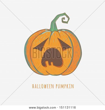funny carved pumpkin isolated on white, vector Halloween illustration, bored pumpkin with big mouth