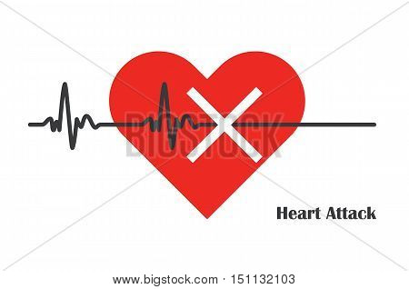 pulse rate stopped with massive heart attack medicine vector ilustration