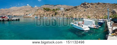 CHORA SFAKION, CRETE, GREECE - JULY 2016: Sea port of Chora Sfakion ton on Crete island, Greece