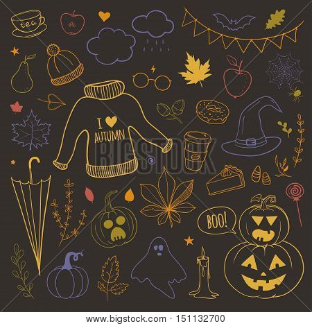 vector set of doodles with autumn related objects: yellow leaves, pumpkins, umbrellas, warm sweater