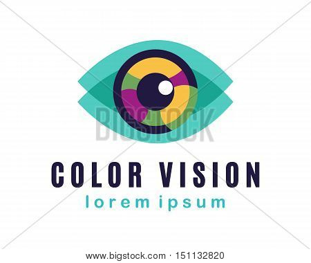 Vector Eye Logo, Color Vision Concept, business card template