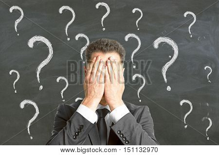 Young businessman covering face with palms on chalkboard background with question mark sketches. Failure and fear concept