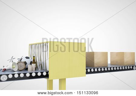 Mail conveyor on light background. Packaging service and parcel transportation system concept. 3D Rendering