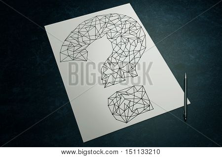 Top view of dark surface with creative sketching of polygonal question mark and pen on paper sheet. 3D Rendering