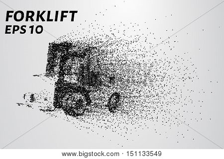 Forklift of the particles. The forklift consists of small circles.