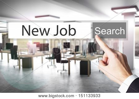 websearch new job grey search button modern office 3D Illustration