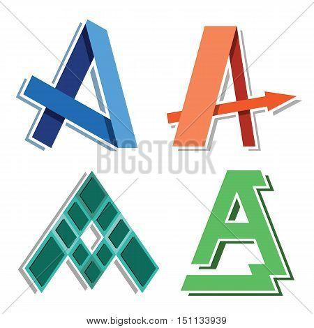Capital letter A creative company or web site identity vector design set