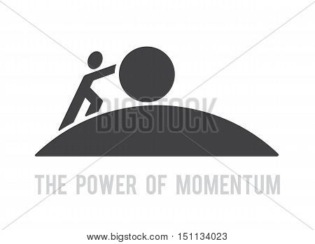 man pushing big ball up hill symbol power of momentum concept reach the target vector abstract design logo