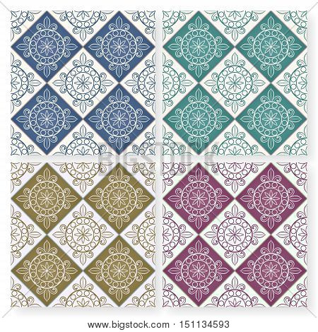 Seamless multicolor patchwork pattern from colorful Moroccan tiles Portuguese tiles ornaments. Can be used for wallpaper pattern fills web page backgroundsurface textures.