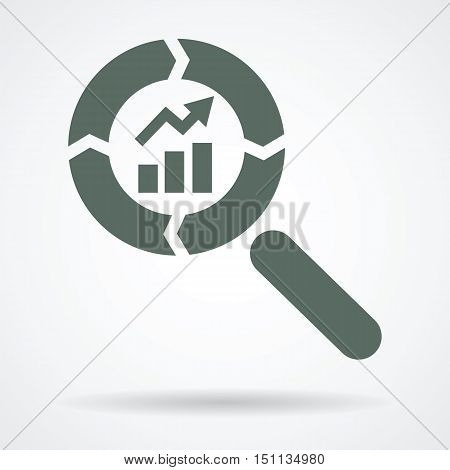 growing trend in cycle magnifier glass symbol as continuos improvement positive result achievement abstract vector icon design