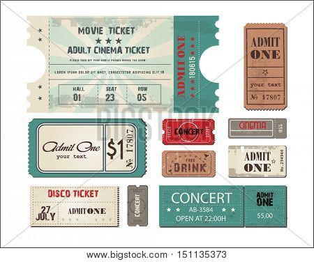 collection of eleven vector grunted Tickets. Set tickets in different styles. Vector illustration.