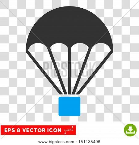 Vector Parachute EPS vector pictograph. Illustration style is flat iconic bicolor blue and gray symbol on a transparent background.