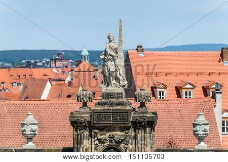 Historic sculpture at the Domplatz in Bamberg Bavaria Germany