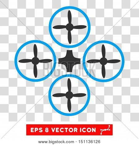 Vector Quadcopter EPS vector pictogram. Illustration style is flat iconic bicolor blue and gray symbol on a transparent background.