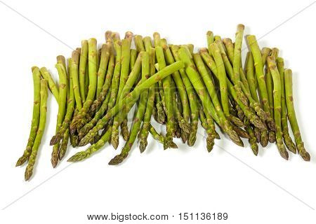 Collection Of Freshly Picked Asparagus Spears On White Background