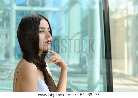 Beautiful Girl Is Lost In Thought