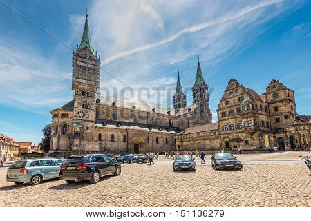 Bamberg Germany - May 22 2016: A wide-angle view of the Bamberg Cathedral. Lovely medieval christian church in the world culture heritage city of Bamberg Franconian Landmark in Bavaria Germany.