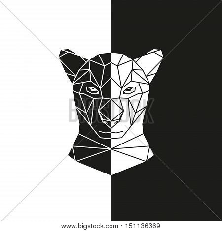 Black and white panther head geometric lines silhouette isolated. Panther mask. Vector illustration.