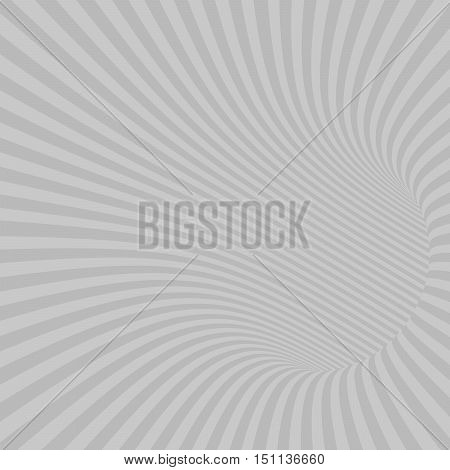Gray Striped Abstract Hypnotic Tunnel. Vector Illustration