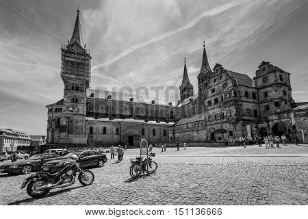 Bamberg Germany - May 22 2016: View on Bamberg Cathedral black and white. Lovely medieval christian church in the world culture heritage city of Bamberg Franconian Landmark in Bavaria Germany.