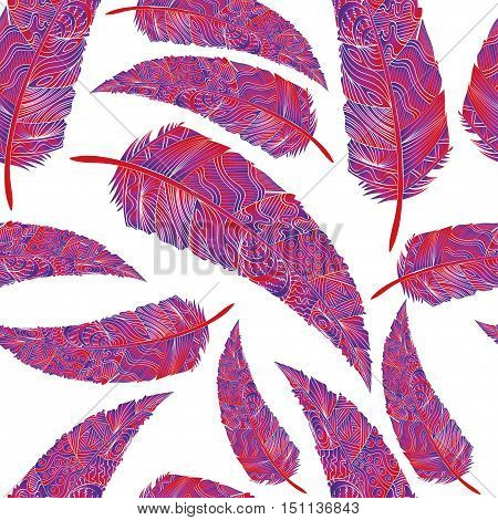 Seamless pattern with feathers. Abstract background with colored feathers. Pastel feathers on white background