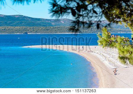Famous beach Zlatni rat, Bol, island of Brac