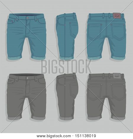 Front, back and side views of men's denim shorts
