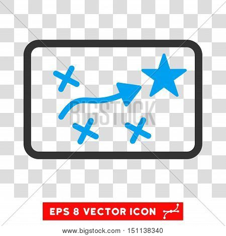 Vector Route Plan EPS vector pictogram. Illustration style is flat iconic bicolor blue and gray symbol on a transparent background.