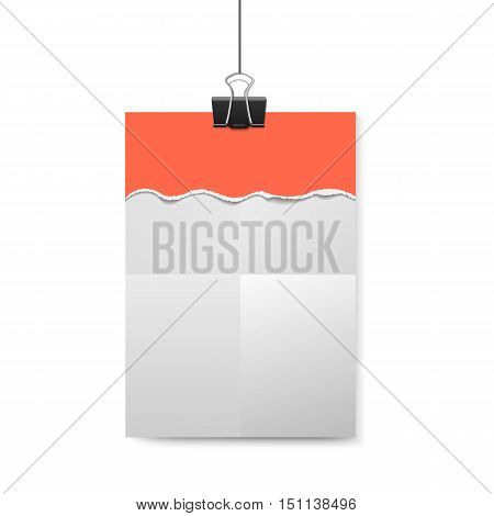 Empty vector vertical white paper poster mockup with traces of the folded sheet red piece of paper with ripped edges and big paper clip.
