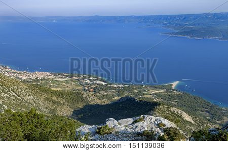 Zlatni rat, famous beach in Bol, island of Brac, Croatia; view from Vidova gora