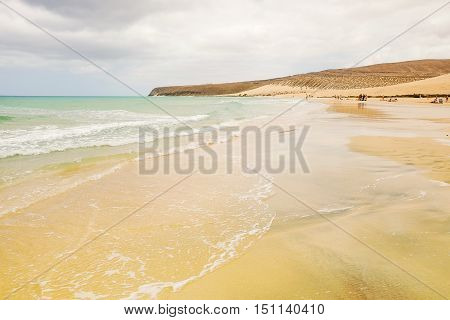 View on the Atlantic Ocean and a beach with golden sea on the Canary Island Fuerteventura Spain.