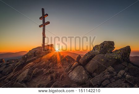 Rocky Mountain Peak with Cross on the Top at Sunset. Mount Dumbier the Highest Peak of the National Park Low Tatras Slovakia.