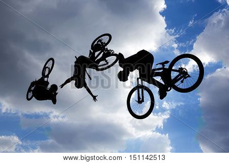 Bike Jump Silhouettes Multiple Exposure