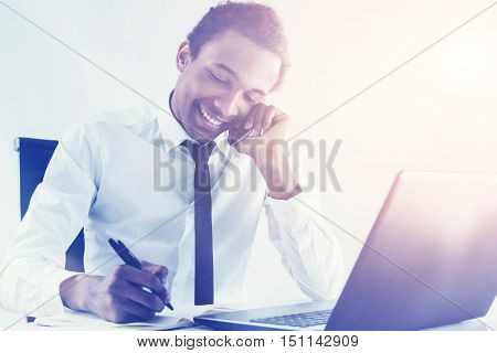 Friendly Black Businessman On The Phone