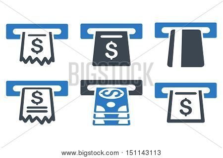 Automated Cashier glyph icons. Icon style is bicolor smooth blue flat symbols with rounded angles on a white background.