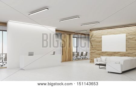 Side View Of Reception Desk And Sofas, Wooden Walls