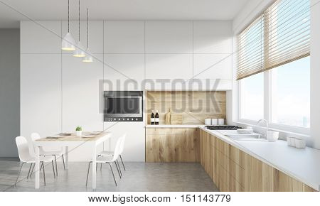 Front view of kitchen interior with working surface family dining table and counter. Concept of family gathering. 3d rendering. Mock up. Toned image