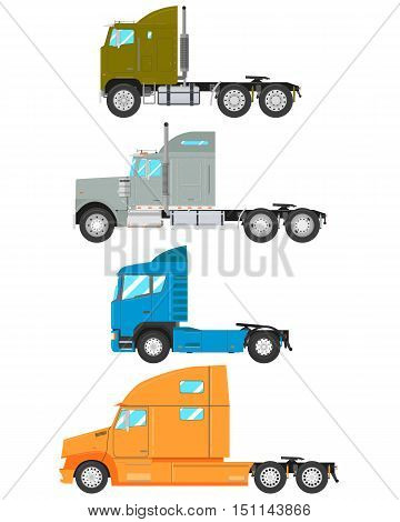 Set of old and modern truck-tractor isolated on white background. Vector illustration