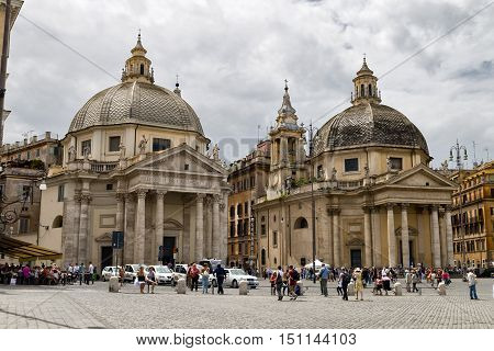 Rome Italy - May 25 2014: Many tourists who visit the Piazza del Popolo and the churches