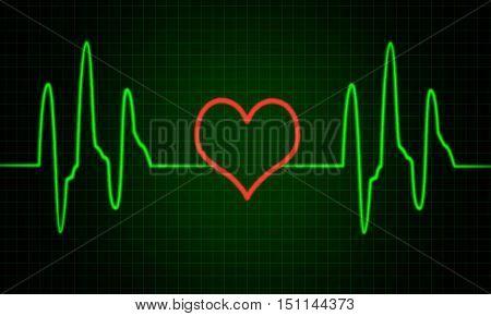 Cardiogram, pulse line with heart shape, ecg sign