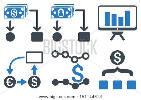 Cashflow Charts glyph icons. Icon style is bicolor smooth blue flat symbols with rounded angles on a white background.