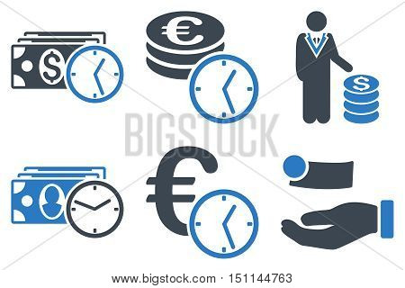 Credit glyph icons. Icon style is bicolor smooth blue flat symbols with rounded angles on a white background.