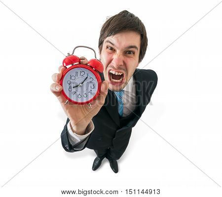 Deadline Concept. Young Crazy Boss Is Yelling And Holds Clock In