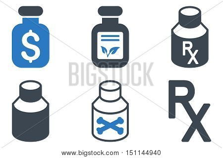 Drugs Vial glyph icons. Icon style is bicolor smooth blue flat symbols with rounded angles on a white background.