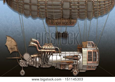 3d illustration of a fantasy airship in steampunk